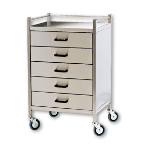 Stainless Steel 5 Drawer Medication Cart