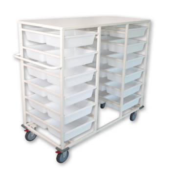 Double Sided 24 Basket Storage Trolley with Rack