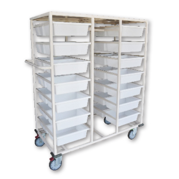 Double Sided 28 Basket Storage Troley with rack