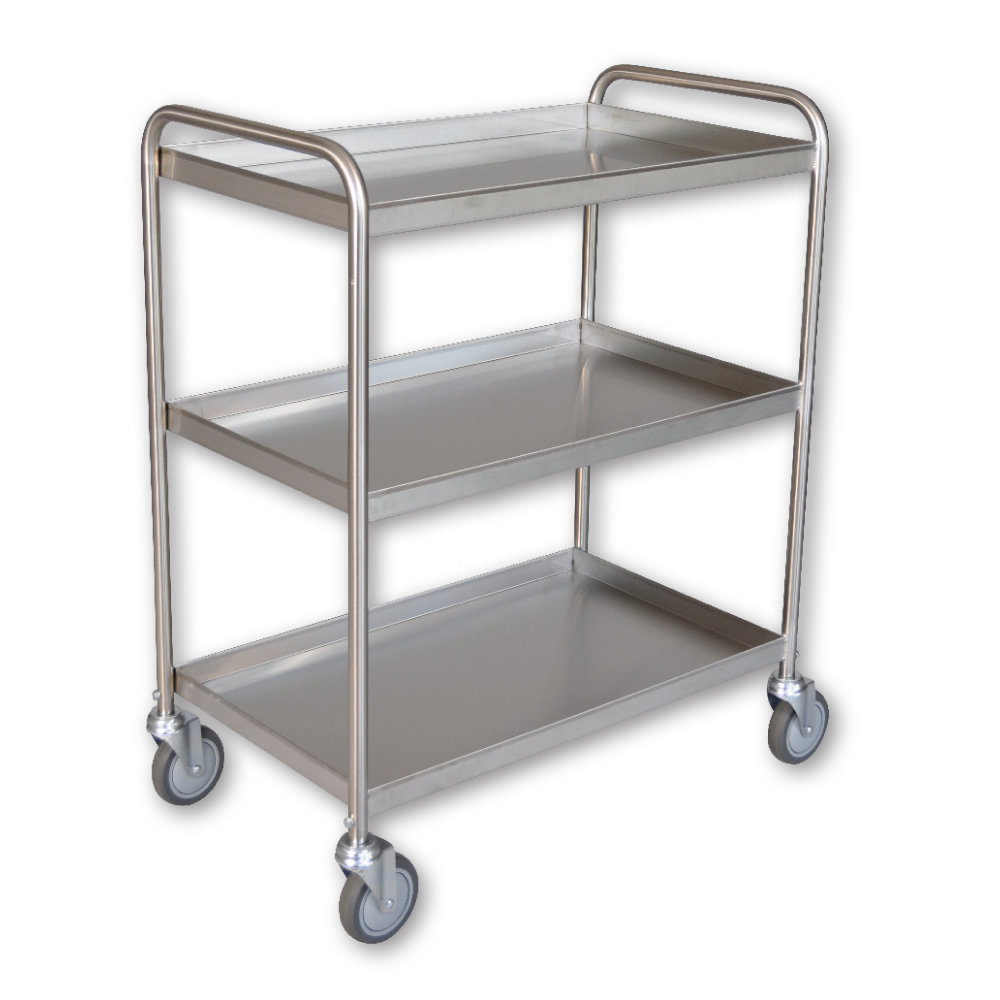 Stainless Steel 3 Shelf Tray Clearing Trolley